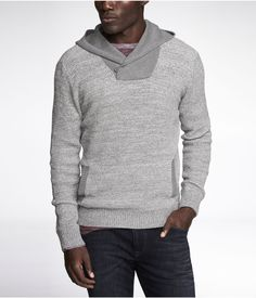 MARLED WAFFLE KNIT HOODED SWEATER  -- Gray -- S or XS
