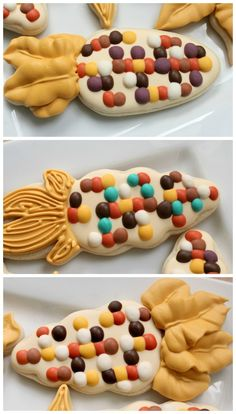 Candy Corn Cookies with instructions on how to create these icing colors from Sweet Sugarbelle.