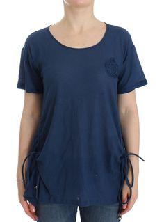 Beachwear Blue Cotton T-shirt Blouse Top