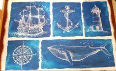 Nautical Vinyl Placemats Set of 2 Foam Backs Whale Lighthouse Blue #Nantucket