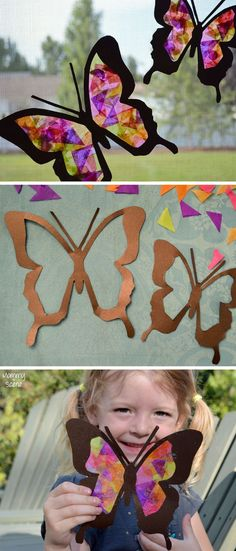 DIY Tissue Paper Butterfly Sun Catchers Kids Craft