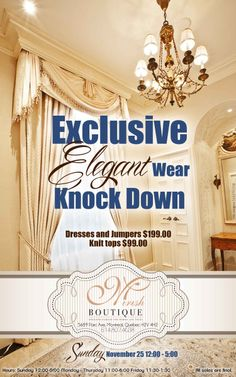 Mirish Boutique had a sale on elegant wear. I chose an elegant background with classic fonts for an epic advertisement.