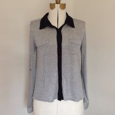 Monteau button up top super soft! Gray and black Monteau top. Sleeves roll up and button or leave down. Super soft material. Monteau Tops Button Down Shirts