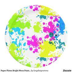Paper Plates Bright Neon Paint Splatter Pattern 9 Inch Paper Plate
