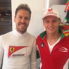 Lovely pic: Sebastian Vettel with Mick Schumacher (Michael's son) at Hockenheim