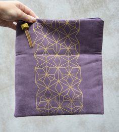 Purple Vegan Suede Fold Clutch Gold Tesselation by TwillandPrint