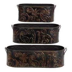Check out the Woodland Imports 31214 Rust Free Metal Embossed Planter - Set of 3