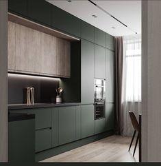 Minimal Kitchen Design, Luxury Kitchen Design, Kitchen Room Design, Home Room Design, Kitchen Layout, Home Decor Kitchen, Interior Design Kitchen, Kitchen Modular, Small Apartment Interior