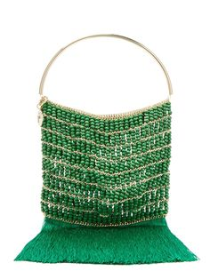 Rosantica By Michela Panero - Georgina Beaded Fringe Trimmed Bag - Womens - Green Balenciaga, Crotchet Bags, Jacquemus, Embroidery Bags, Trendy Handbags, Fringe Bags, Beaded Bags, Bead Crochet, Wooden Beads