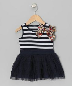 Look what I found on #zulily! Navy & White Stripe Bow Tulle Dress - Girls #zulilyfinds