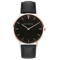 High Quality & Stylish Watches -The Paul Valentine, Pearl Rose Gold Black. Featuring 316L Rose Gold Stainless Steel & a black interchangeable genuine leather strap