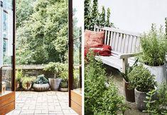 """""""Det er helt eksotisk at have fundet en så dejlig have midt i byen"""" Porch Swing, Outdoor Furniture, Outdoor Decor, Venter, Tips, Den, Home Decor, Outdoors, Garden"""