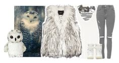 """""""Snowy owl ~ requested"""" by squidney12 ❤ liked on Polyvore featuring Too Faced Cosmetics, The Row, Unreal Fur, Topshop and Wallis"""