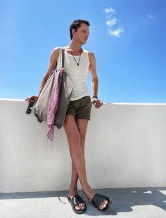 stylentonic blog, fashion blog, menswear, street style, men's fashion, blogger, wearing, men's fashion blog, trends summer 2015, trends, men, Santorini , look, swim shorts, swiwear, travel, travelling, Greek Islands, fashionista, dapper, island life, blogger, stylentonic, tank top by Prada, swim shorts by Calzedonia, bag by Rick Owens,  slides by Zara, pendant and bracelets by Zoe Kompitsi, wooden sunglasses by Woodzee, summer 2015