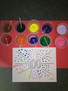 q-tip painting . . . count by 10's  100th day activity { fine motor work too!} I like this idea for teaching the concept of time. Do 60 instead and count by 5's