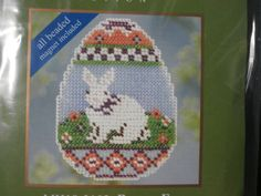 Handmade Unframed Bunny Egg Cross Stitch by CustomCraftJewelry