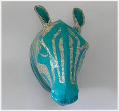 collage paper mache zebra head & 16 best Decorate Paper Mache images on Pinterest   Papier mache ...