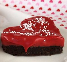 Chocolate- Dipped Brownies… for Your Valentine! Dip heart shaped brownies into melted red candy coating; add sprinkles
