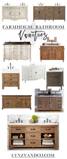 A roundup of some of the most gorgeous farmhouse bathroom vanities. This post includes both single and double vanities!