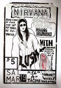"This it's #Nirvana's first #gigposter as ""Nirvana"", design by Cobain himself."