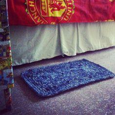Upcycled denim crocheted rug!! I made it! :):)
