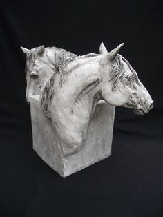 "AVAILABLE  17"" x 17""  large one of a kind stoneware piece.  There is an opening in-between the horses for a dried arrangement , if desired.  The bottom of the piece is open.  $525  www.forgehillsculpture.com  Beverly Zimmer  Visa/MC/PayPal accepted  561 452 6526"