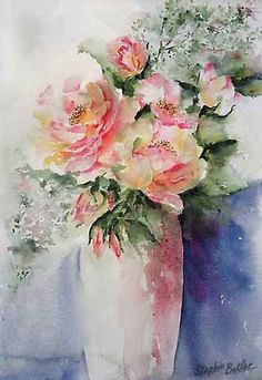 This is a beautiful watercolor by Stephie Butler. I love all of the lost and found edges and the lovely colors. So loose and watercolory.