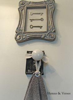 I like the hanger but I like a tie on towel idea even better.Old Door Knob Hardware - Hand Towel Holder Old Door Knobs, Vintage Door Knobs, Door Handles, Vintage Milk Can, Porcelain Door Knobs, Cool Doors, Sunburst Mirror, Hand Towels, Hardware