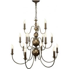 Traditional Flemish 15 light ceiling chandelier in aged matt bronze. Refined classical elegant lighting best suited to Georgian and Regency houses