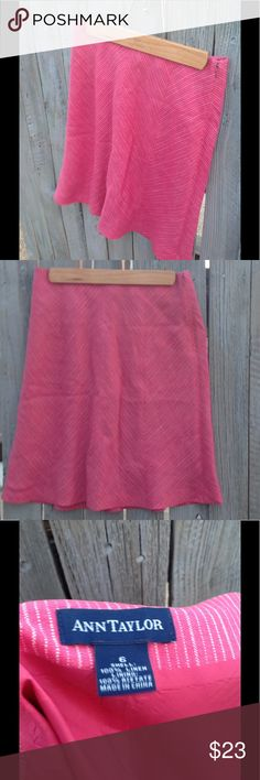 Ann Taylor Linen skirt -pink white chevron pattern *See my other listings for patching shirt and alternative skirt. Worn once, Ann Taylor linen knee length skirt; slightly  flared at the bottom giving it movement and style. Ann Taylor Skirts Asymmetrical
