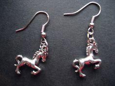 HANDMADE HORSE/PONY DESIGN TIBETAN SILVER DROP EARRINGS