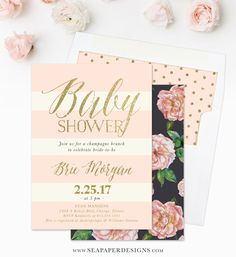 The Brie Baby Shower Invitation is a trendy invite with blush pink roses, Charcoal Grey & Ivory and faux gold glitter lettering. Pair it with our blush pink and gold dot liner for a complete look!