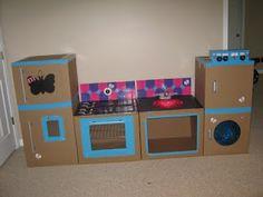 Ok, so how long ago was it that I said I'd be working on that kitchen for my cute little friend?cuz it'. Cardboard Kitchen, Diy Cardboard Furniture, Diy Recycled Toys, Diy Toys, Cardboard Playhouse, Cardboard Toys, Diy Karton, Diy Kids Kitchen, Cute Kids Crafts