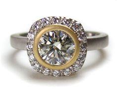Diamond Halo Bezel Modern Engagement Ring by spexton on Etsy, $1850.00