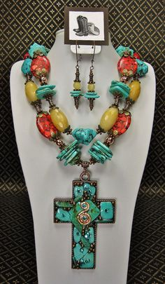 TURQUOISE Cowgirl Chunky Necklace / by CayaCowgirlCreations, $65.50
