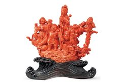 Chinese carved coral figural group - 19th century