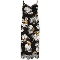 River Island Black floral print lace hem slip midi dress (319.150 IDR) ❤ liked on Polyvore featuring dresses, vestidos, black, sale, vacation shop, women, lace camisole, camisole slip, floral camisole and floral midi dress