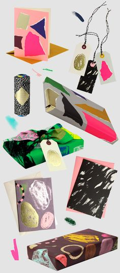 New stationery and wrapping designed by Kasia Gadecki and Allison Colpoys ofThe Souvenir Society. You too could make this clever #DIY #wrapping and #packaging PD
