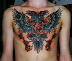Keys And Crow Tattoo On Chest