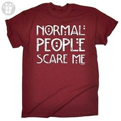 NORMAL PEOPLE SCARE ME (S - MAROON) NEW PREMIUM LOOSE FIT BAGGY T-SHIRT - slogan funny clothing joke novelty vintage retro t shirt top men's ladies women's girl boy men women tshirt tees tee t-shirts shirts fashion urban cool geek nerd theory autism high school american horror story hipster big bang day for him her brother sister mum dad mummy daddy father mother birthday ideas gifts christmas present gift S M L XL 2XL 3XL 4XL 5XL - by 123t Slogans - Birthday shirts (*Amazon Partner-Link)