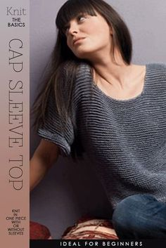 Cap Sleeve Top knit in one piece with or without sleeves. Free pattern