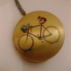 Bunny Bicycle Locket Necklace  Sports by FashionCrashJewelry