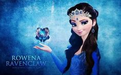 "The Four Founders (Frozen edition) - Elsa as Rowena Ravenclaw ""Wit beyond measure is a man's greatest treasure."" Also this is just a really pretty Elsa :) Harry Potter Crossover, Fandom Crossover, Emo Disney, Disney Magic, Disney Movies, Disney Characters, Disney Princesses, Disney Frozen, Disney Crossovers"
