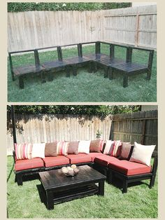DIY Patio Furniture! My husband made this sectional sofa set out of 2x4s Plans can be found on Ana White Website 3 Day Project
