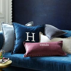 """Studded Velvet Pillow Cover    20"""" in Regal Blue   Feather Insert (to match existing blue velvet pillow)"""