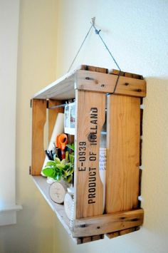 wine crate shelf hanging build string easy