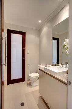 Monaco powder room by McDonald Jones Homes. Bathroom Inspo, Master Bathroom, Bathroom Ideas, Mcdonald Jones Homes, Toilet Door, House Doors, Home Builders, Home Interior Design, Luxury Homes
