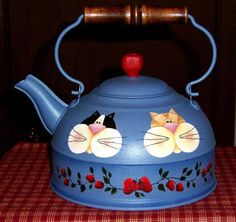 Do Cats Fart Refferal: 6047004623 Metal Crafts, Diy And Crafts, Painted Pots, Hand Painted, Pot Lids, Decoupage, Country Paintings, Milk Cans, Teapots And Cups
