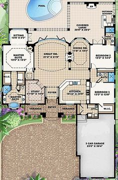 "First floor plan I opened - I always come back to the same type floor plan! I want it to be OPEN and COMFY! Coastal Home Plans - Lantana - has the ""pool bathroom"" idea. This is my dream home! Not to bug but not to small also and a great pool! New House Plans, Dream House Plans, House Floor Plans, My Dream Home, Dream Houses, House Plans With Pool, Sims House Plans, The Plan, How To Plan"