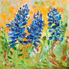 Palette knife painting Texas Bluebonnets FLOWERS by Karensfineart